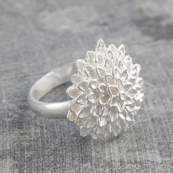 Silver Sunflower Textured Ring by OtisJaxon on Etsy