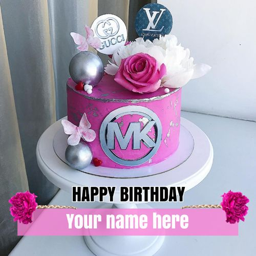 Michael Kors Mk Theme Beautiful Birthday Cake With Name Cake