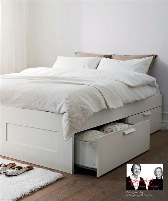 Brimnes bed ikea drawer storage underneath plus can put for Upholstered bed with drawers