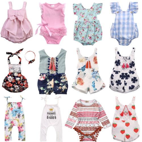 Summer Newborn Baby Girl Floral Romper Bodysuit Jumpsuit Sunsuit Outfits Clothes