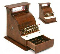 A. J. Quimby, Nantasy Fantasy, IGMA artisan - old fashioned wooden cash register, complete with coin inserts in drawer, bought in 2013 on ebay. My plan is to use this in a toy store