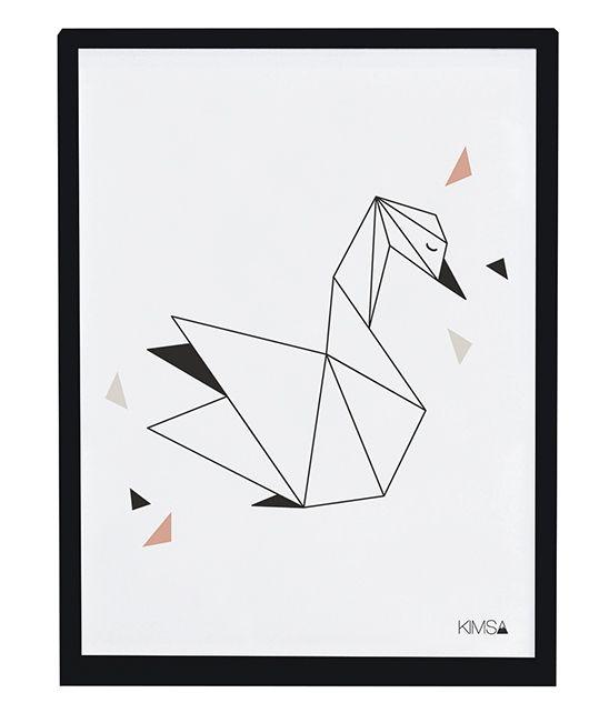 Affiche enfant origami cygne Lilipinso Kimsa