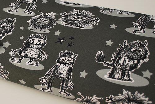 Jersey digital Janeas world monsters gris - par 50 cm