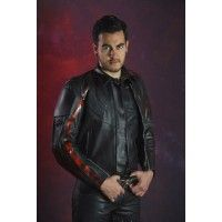 LEATHER JACKET FLAMES RED