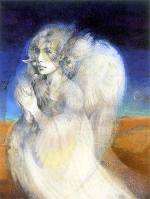 Susan Seddon Boulet - Goddess « Psyche » alias « Spirit of the New Times (Sentinel) » alias Journey Home 2 - 1990  (couverture de l'ouvrage A Retrospective) (couverture du calendrier Goddesses 2004)