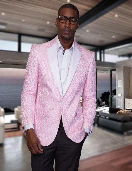 Mens Tuxedo Hot Pink Dinner Jacket Blazer Paisley Sport Coat http