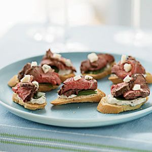 Beef and Gorgonzola Toasts with Herb-Garlic Cream from Cooking Light