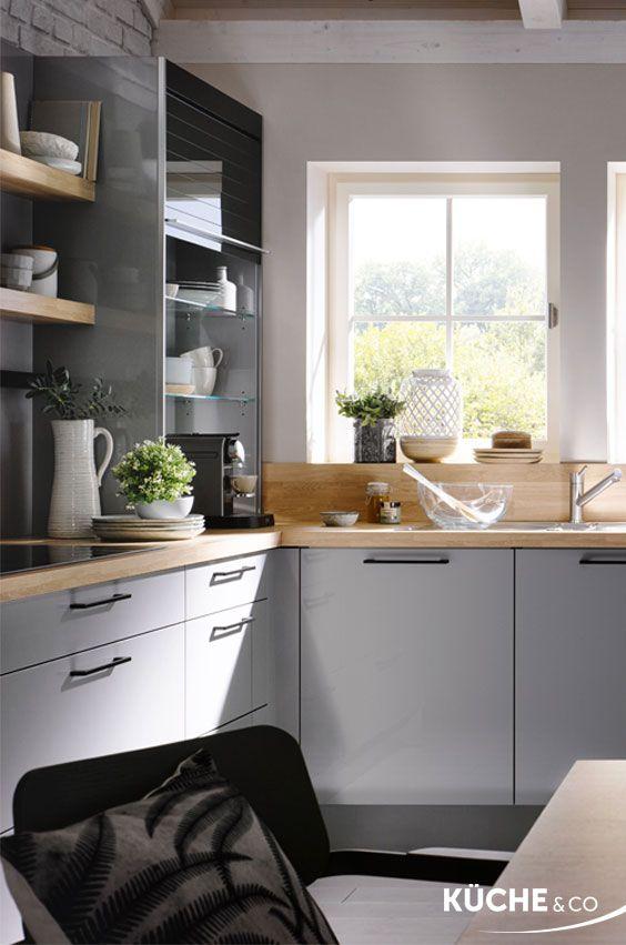 Küche L Form Grau