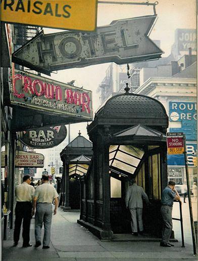 Entrance to subway: Broadway: Books Worth Reading, Bar Subway, Subway Entrances, New York City, 1960 S