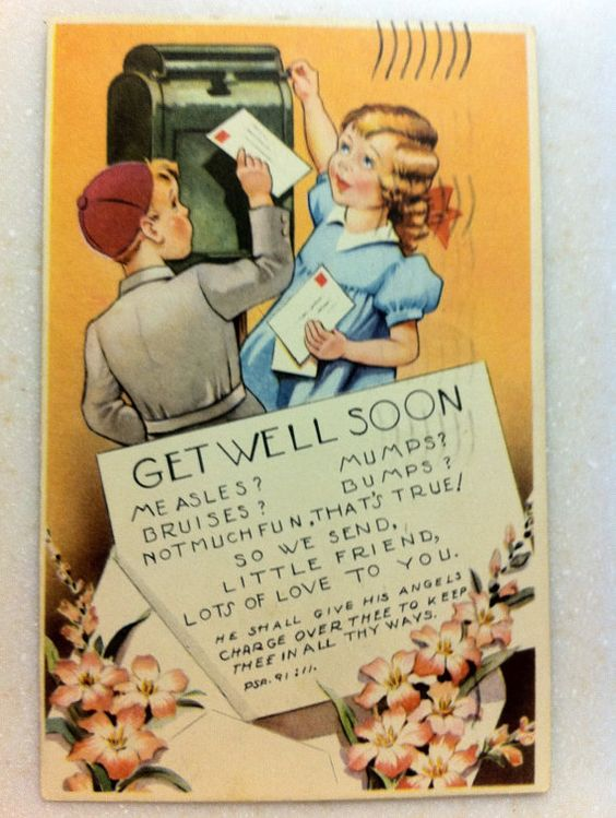 Vintage Novelty Postcard Child Get Well Soon by LorasVintageShop