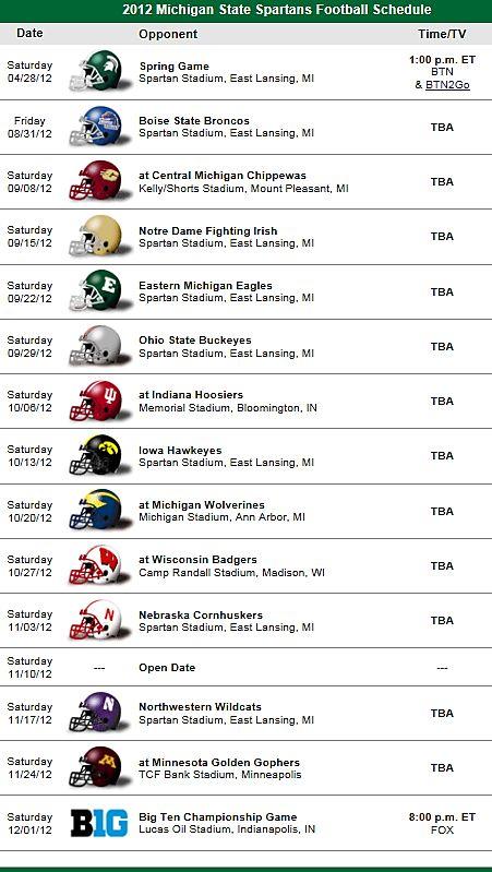 Michigan State Spartans Football Team 2012 Schedule