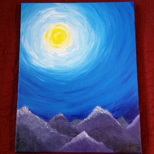 This is an original acrylic on canvas painting of a sunny sky and mountain range. This piece is 11x14 and comes ready to hang on your wall. The edges of the painting are painted so you don't have to f