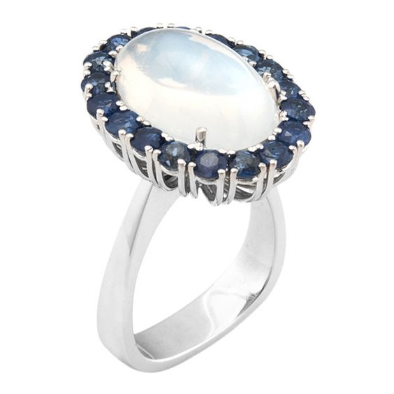 Estate Fine Jewelry Estate Moonstone & Sapphire Cocktail Ring ($2,500) ❤ liked on Polyvore
