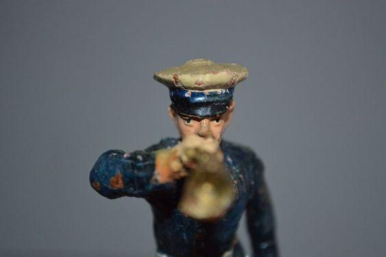 Große Hausser Elastolin Massefigur Marine Soldat mit Trompete