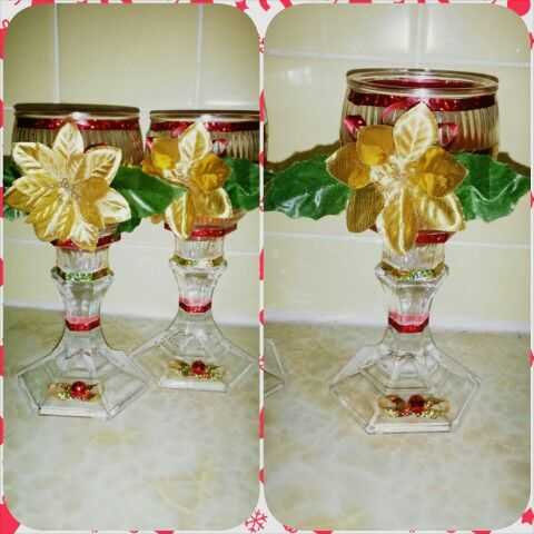My craft. 2 Dollar Tree candles glued to dollar tree candle sticks and decorated to my liking.