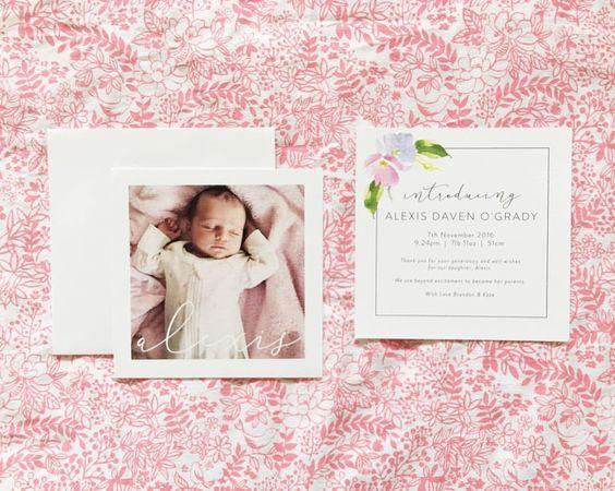 Baby girl newborn birth announcement thank you card floral pretty – Birth Announcement Cards Australia