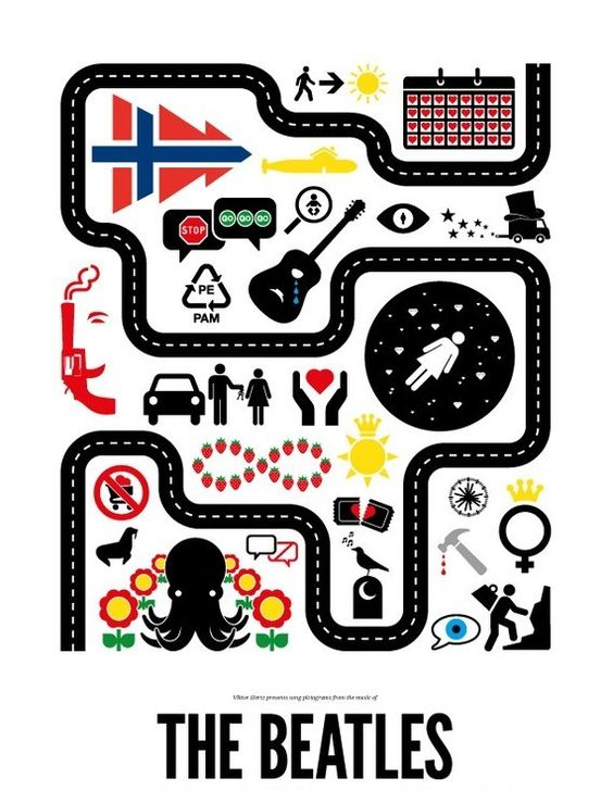 Victor Hertz first made it on my radar after he created pictograms for famous rock songs. But now, he has expanded the idea into posters full of pictograms for a specific artist or band. Viktor decided to pick a few bands and artists from the rock genre and make pictogram posters for them. Instead of just putting one single pictogram in each poster, he made as many as he could possibly come up with for each artist, and put them into one single poster.
