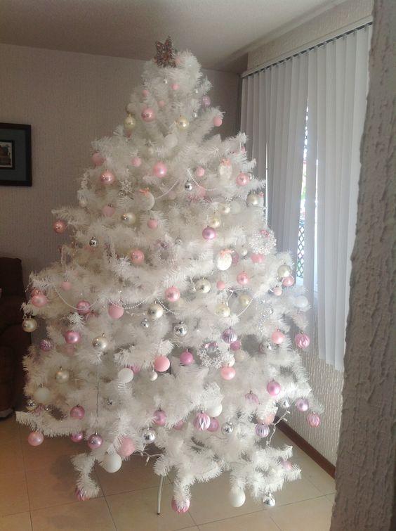 Arbol navide o en tonos rosas blanco y plata lupita - Arbol de navidad adornos ...