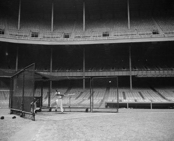 Empty Yankee Stadium At Night DiMaggio batting in an...