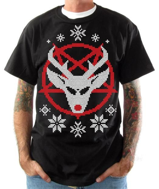 The most heavy metal Christmas shirt in the world.  Either this reindeer sold his soul to the devil to get a spot at the front of Santa's sleigh, or