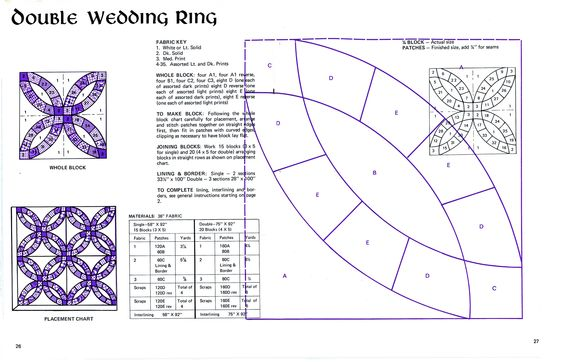 Declarative image intended for free printable double wedding ring quilt pattern