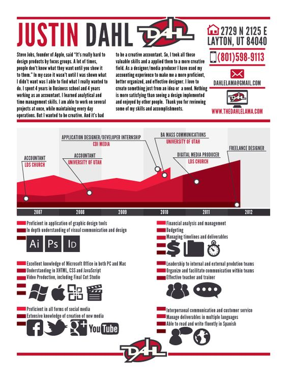 Justin Dahl - Infographic Resume Logos Pinterest Infographic - digital media producer sample resume