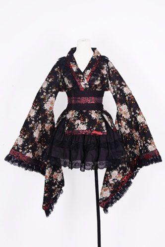 Robe kimono noire et blanche motif fleur avec obi, jupe et guêtr