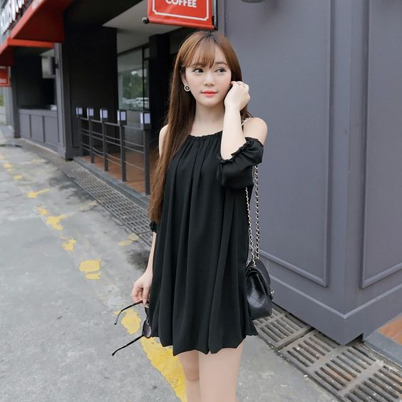 Korean Fashion - Sleeve strapless chiffon dress: