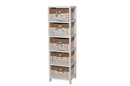 Borras Hnos - 5 cassetti mobili in vimini bianco. (Colore: Bianco Dimensioni…