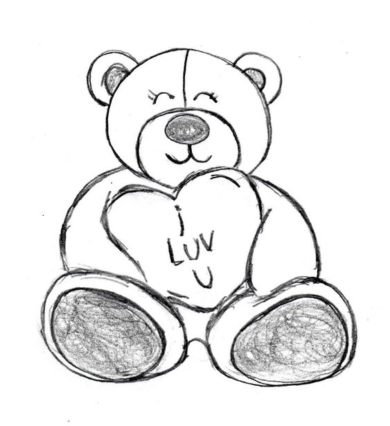Line Drawing Valentine : Happy teddy bear for valentine s day sketch made by