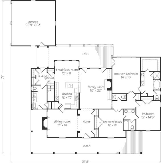 Beautiful One Floor House Plan Master Bedroom With Large