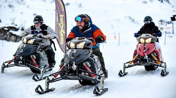 Switzerland- Bert, Adam and Leanne race each around Mount Titlis on snowmobiles.