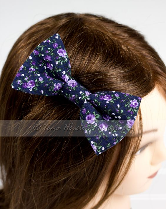 Hair Bow Clip- Blue, Purple, Vintage Floral | Toma's Tutus and Things, $7.50