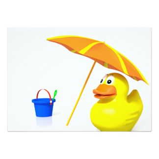 Rubber duck at the beach card
