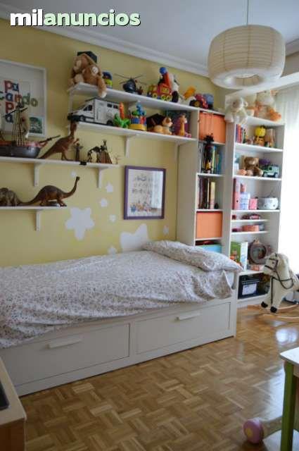 Habitacion infantil juvenil de ikea, cama modelo brimnes ...