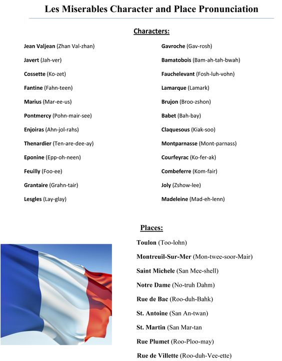LES MISERABLES is full of French names and French places.      Pronouncing things in the French language can often be difficult for the average person without a year of French class under their belt (i.e. me, 4 years of Spanish doesn't seem to help at all with French pronunciation)... That's why I went in search of a Handy LES MIS Pronunciation guide! I decided to share it with you all!    Now YOU TOO can sound like a Fancy Broadway Connoisseur when talking to friends!