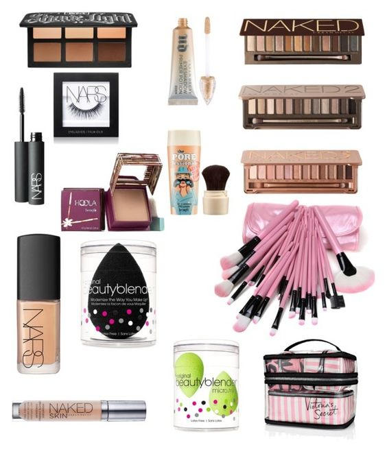 """""""Makeup collection goals"""" by sydnwil ❤ liked on Polyvore featuring beauty, Kat Von D, Urban Decay, NARS Cosmetics, Hoola, beautyblender, Victoria's Secret and Benefit"""