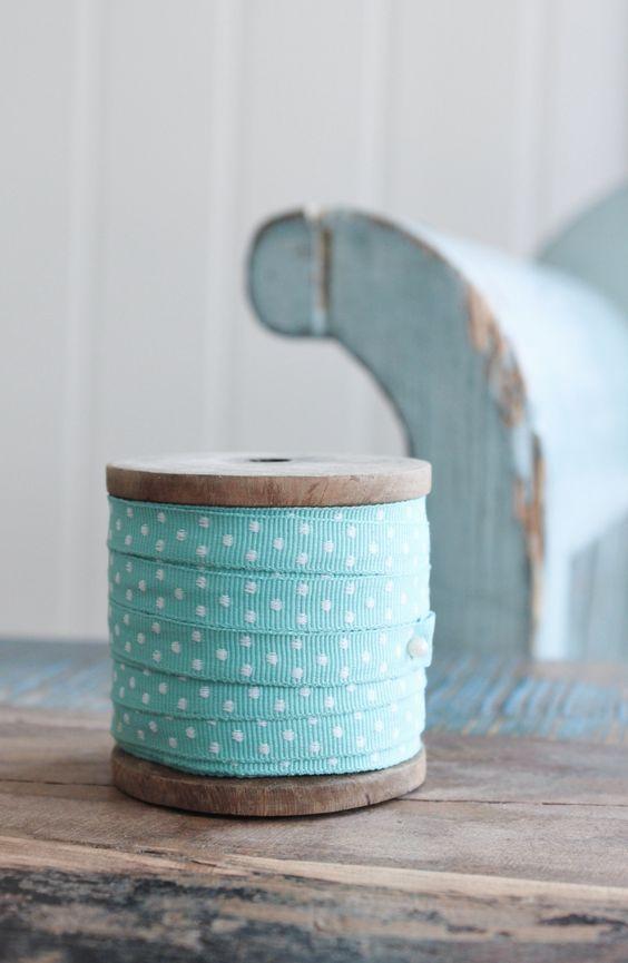 Light aqua and white polka dots ribbon ~ love this color!