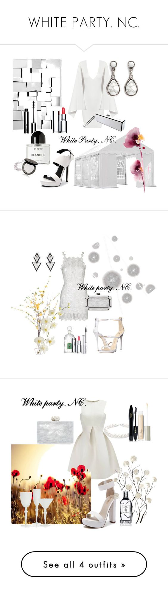 """WHITE PARTY. NC."" by noemicapozza ❤ liked on Polyvore featuring Posh Girl, Philippe Audibert, Verali, ShelterLogic, Zuo, Givenchy, Byredo, Chanel, Clarins and 3 Custom Color"