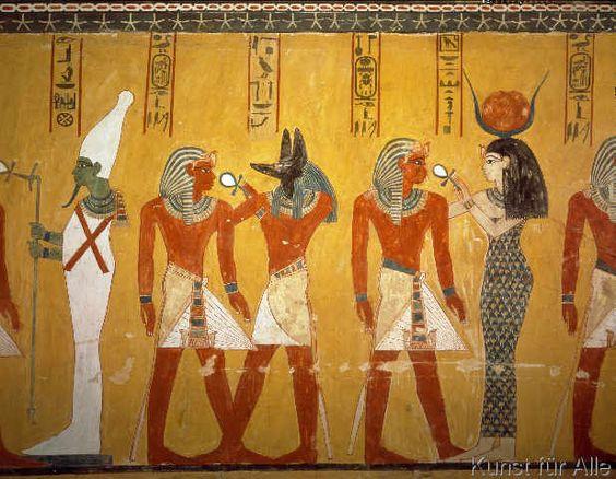 Ägyptische Malerei - Thutmosis IV. und Götter / Wandmalerei