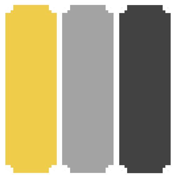 Amarelo e 2 tons cinzento