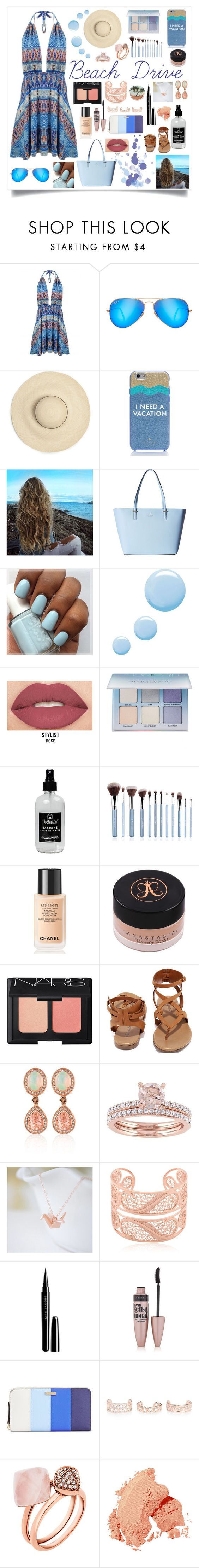 """""""Beach Drive! xx"""" by princessfashion22 ❤ liked on Polyvore featuring Ray-Ban, Kate Spade, Topshop, Smashbox, Anastasia Beverly Hills, Little Barn Apothecary, Chanel, NARS Cosmetics, Breckelle's and LE VIAN"""