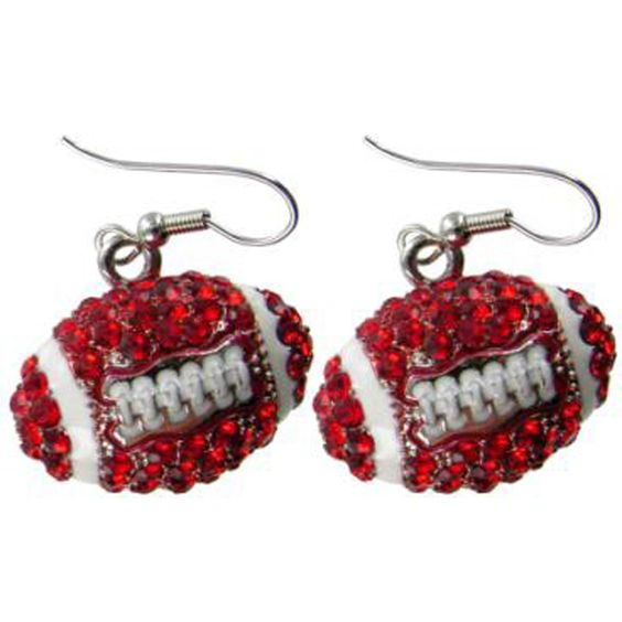 Large Puffy Crystal Football Earrings