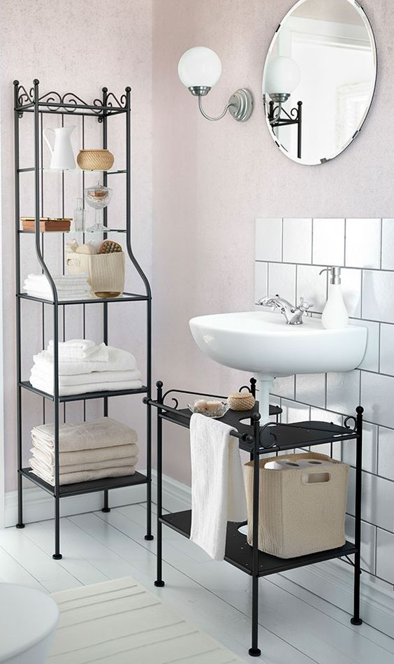 Save Space In The Bathroom With The Right IKEA Shelving With Their Decorativ