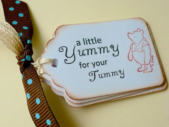 Classic Pooh Yummy for your Tummy Tags, Winnie the Pooh, Vintage Favor, Baby Shower, Birthday Party Food Tags. $5.25, via Etsy.