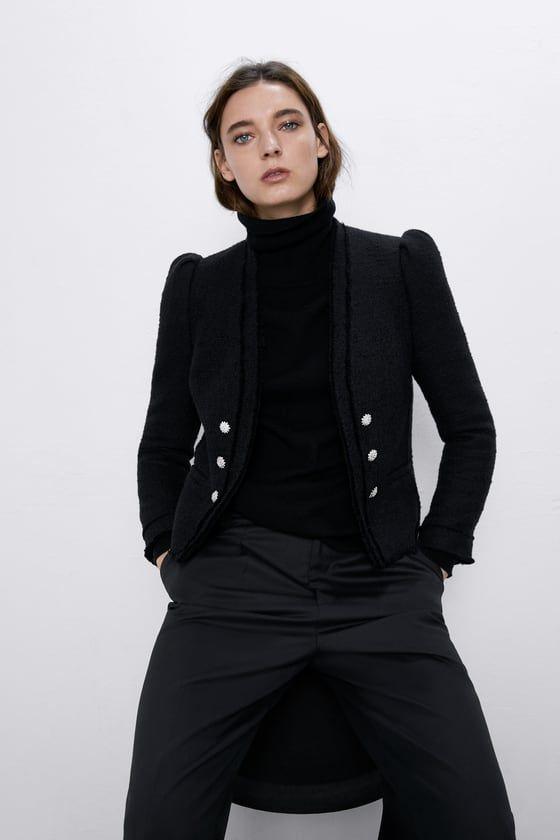 Zara Woman Tweed Poplin Jacket Jackets Tweed Jacket Poplin