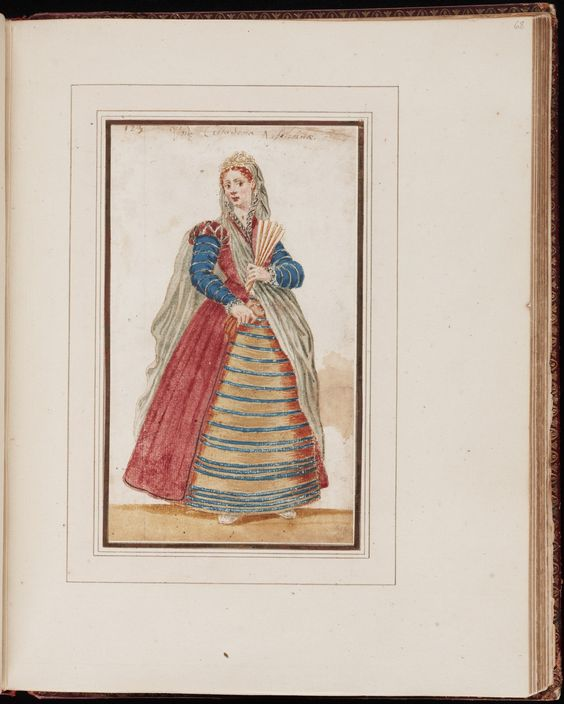 Yale University Library: Mores Italiae, Beinecke MS 457, 1575 Manuscript on paper of an album of 105 water-color drawings of Italian costumes and scenes of daily life (some with titles), including two maps of Venice.