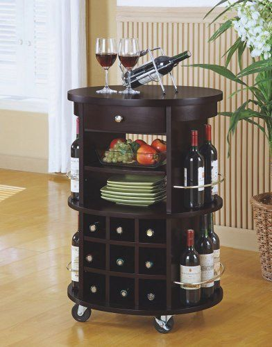Wonderful Monarch Specialties Round Bar Serving Cart With Wine Storage, Cappuccino  Monarch Specialties,http: