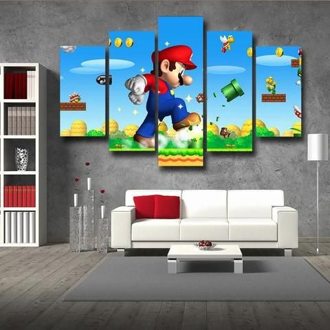 Super Mario Mega Mushroom 5pc Wall Art Posters Canvas Prints Gaming Wall Art Mario Room Game Room Decor