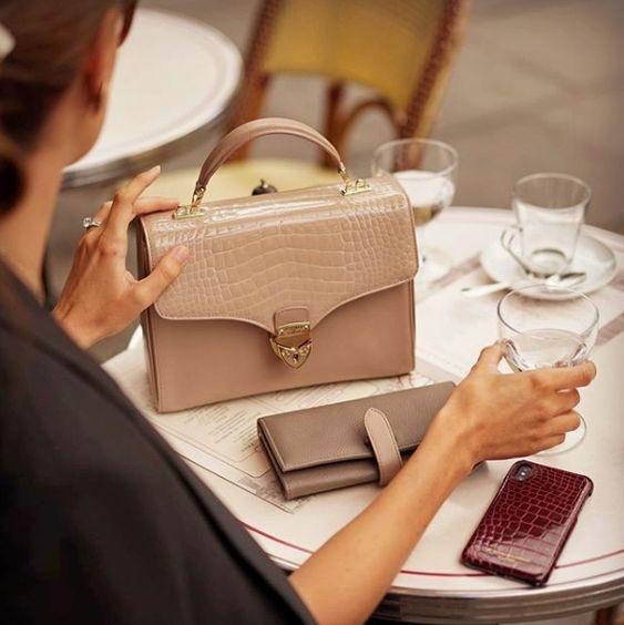 Alligator Skin Shoulder Handbags Crossbody Bags with Gold Hardware